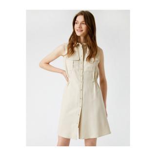 Koton Womens Gray Shirt Collar Sleeveless Buttoned Dress dámské Other 34