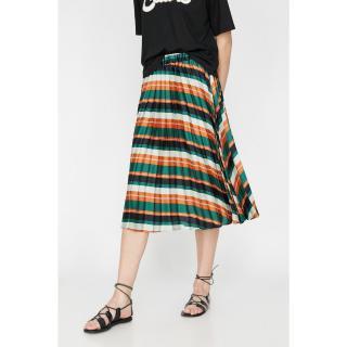 Koton Womens Green Pleated Normal Waist Relaxed Fit Midi Skirt dámské 36