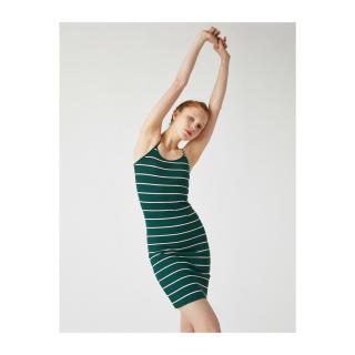 Koton Womens Green Striped Dress dámské L