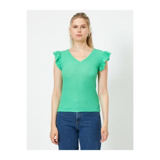 Koton Womens Green V-Neck Short Sleeve Ruffle Detailed Singlet dámské Other L