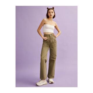 Koton Womens Green Wide Leg Cotton Jean Trousers dámské 36