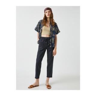 Koton Womens Navy Blue Linen Pants dámské Other 34