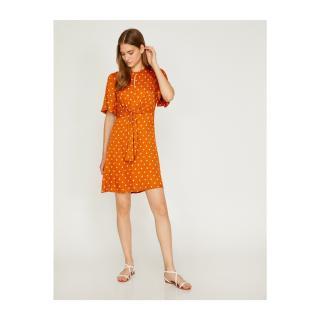 Koton Womens Orange White Crew Neck Mini Dress dámské 34