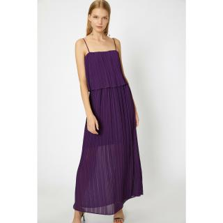 Koton Womens Purple Pleated Dress dámské MOR 34
