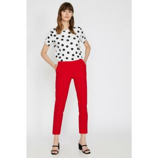 Koton Womens Red Straight Cut Trousers dámské Other 42