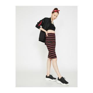 Koton Womens Red Striped Skirt dámské L