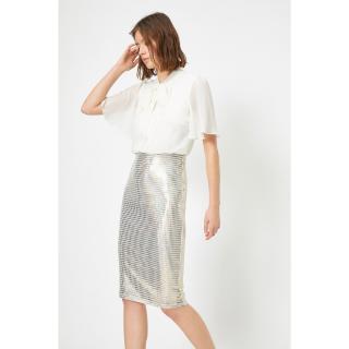 Koton Womens Sequin Evening Dress Siphon Bow Slit Slit Midi Dress dámské Other L