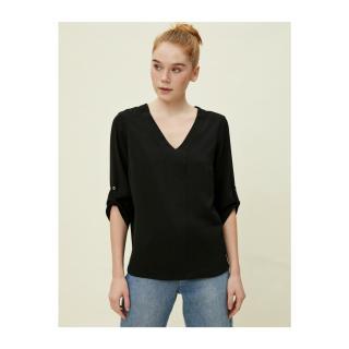 Koton Womens Sleeve Detailed Black Blouse dámské Other 36