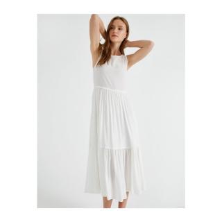 Koton Womens WHITE Crew Neck Dress Sleeveless dámské Other 38