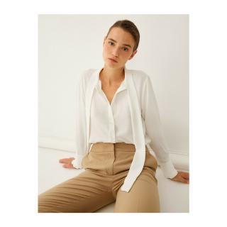 Koton Womens White Foulard Collar Shirt dámské Other 36