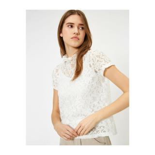 Koton Womens White Lace Detailed T-Shirt dámské White 000 L