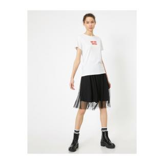 Koton Womens White Printed T-Shirt dámské White 000 XL