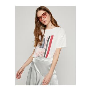 Koton Womens White Short Sleeve Crew Neck Printed T-Shirt dámské White 001 L