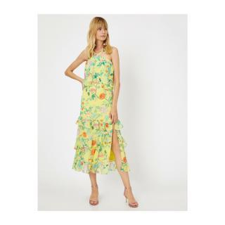 Koton Womens Yellow Collar Detailed Sleeveless Ruffle Detailed Midi Patterned Dress dámské Other 40