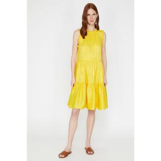 Koton Womens Yellow Crew Neck Sleeveless Ruffle Detailed Midi Dress dámské 36