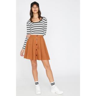 Koton Womens Yellow Normal Waist Mini Button Detailed Skirt dámské 36