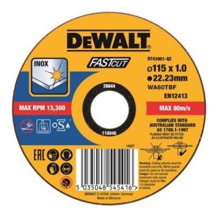 Kotouč řezný na nerez 115x22,2x1,0 Fastcut Dewalt DT43901