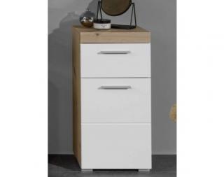 Koupelnová stojací skříňka Amanda 802, sukový dub/bílý lesk Bílá