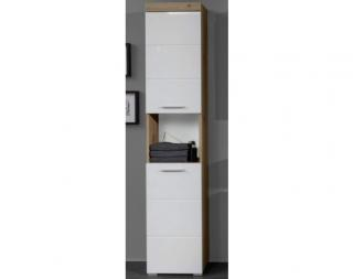 Koupelnová vysoká skříňka Amanda 103, sukový dub/bílý lesk Bílá