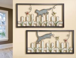 Kovový obraz kočka na plotě