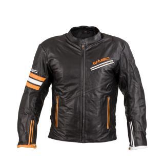 Kožená Moto Bunda W-Tec Brenerro  Black-Orange-White  L L