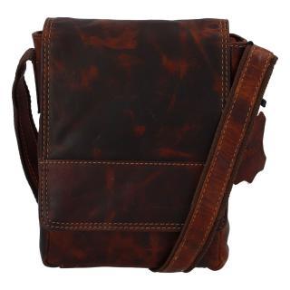 Kožená pánská crossbody taška na doklady koňaková 0213 pánské