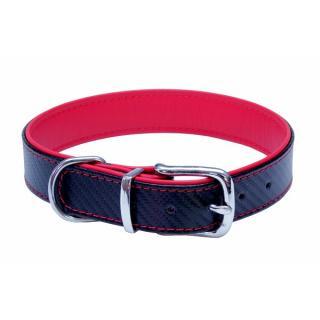 Kožený obojek B&F Carbon 52cm červený