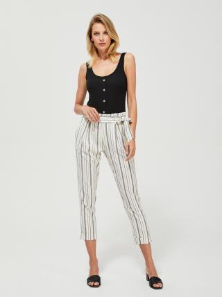 Krémové pruhované zkrácené kalhoty Moodo dámské krémová XL