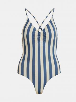Krémovo-modré pruhované jednodílné plavky .OBJECT Francise dámské modrá XS