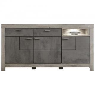 Landscape KOMODA, barvy dubu, tmavě šedá, 196/100/42 cm - barvy dubu, tmavě šedá 196/100/42