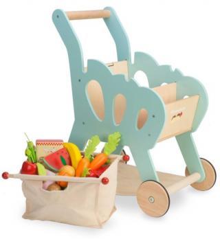 LE TOY VAN Nákupní košík s příslušenstvím modrá