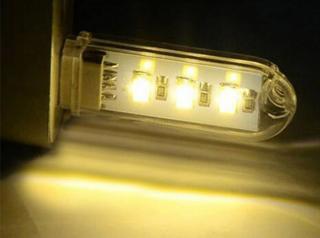 LED USB přenosné světlo 3 diody - 2 barvy Barva: teplá bílá