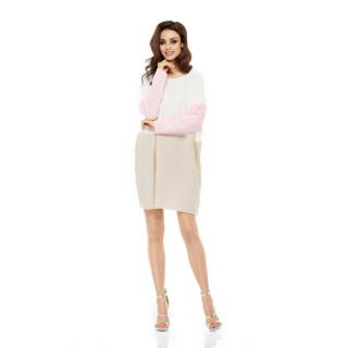 Lemoniade Womans Sweater LS203 Ecru-Beige-Powder Pink dámské wzorzysty One size