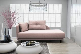 Lenoška ize s úložným prostorem, levá strana, růžová