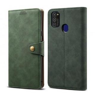Lenuo Leather flipové pouzdro pro Samsung Galaxy M21, green