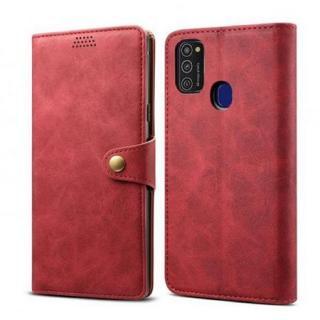 Lenuo Leather flipové pouzdro pro Samsung Galaxy M21, red