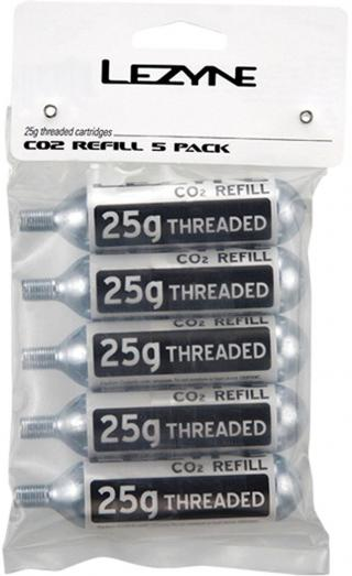Lezyne 25g CO2 Cartridge 5-Pack Silver