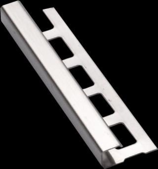 Lišta ukončovací hranatá nerez, délka 250 cm, výška 10 mm, NRZH10250