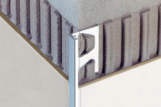 Lišta ukončovací L Schlüter Jolly ACG hliník eloxovaný lesklým chromem, délka 250 cm, výška 8 mm, A80ACG chrom lesklý chrom