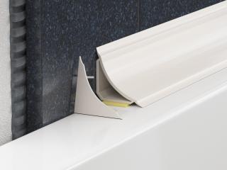 Lišta vanová PVC bílá, délka 185 cm, výška 20 mm, šířka 20 mm, LVL bílá bílá