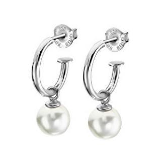 Lotus Silver Překrásné stříbrné náušnice kruhy se syntetickou perlou LP1883-4/1 dámské
