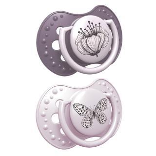 LOVI BOTANIC Dudlík silikonový dynamický 0-3 m 2 ks, holka růžová