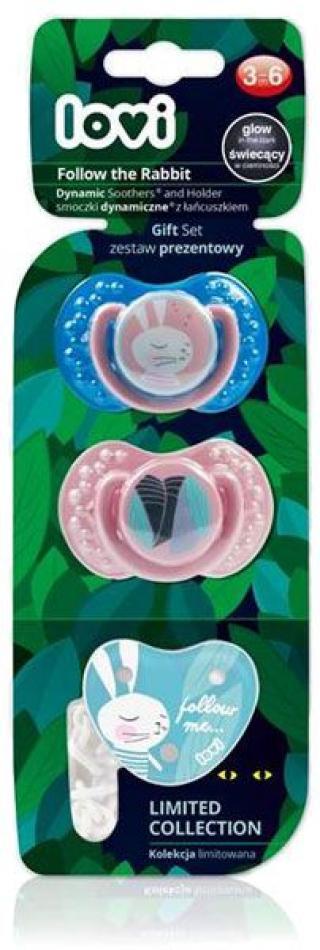 LOVI Dudlík silikonový dynamický Rabbit holka 3-6m, 2 ks  růžová