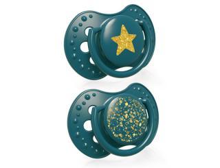 LOVI Dudlík silikonový dynamický Stardust 6-18 m 2 ks zelený zelená