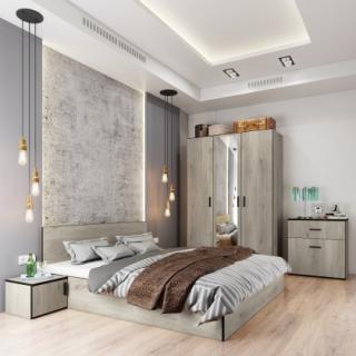 Ložnicový komplet ložnicový komplet vernal-rám postele,skříň,komoda,2 noční stolky sonoma arwen