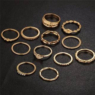 Luxusní sada dámských prstýnků - 12 ks Barva: zlatá