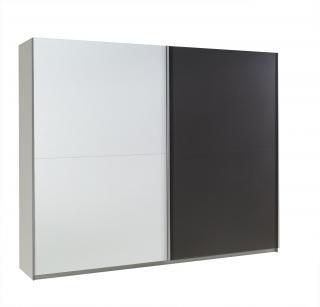 Luxusní skřín Nox A, bílý lesk/šedý mat