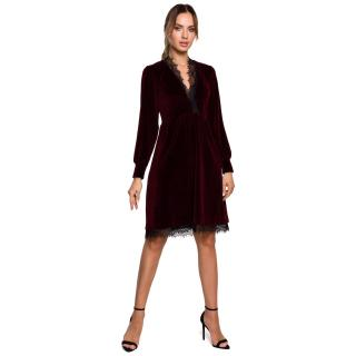 Made Of Emotion Womans Dress M563 Maroon dámské Red L