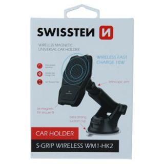 Magnetický držák do auta Swissten s bezdrátovým nabíjením S-GRIP WM1-HK2, černá