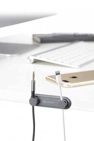 Magnetický držák kabelu Cellularline Cable Manager, 2x magnetický klip, černý
